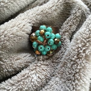 Turquoise & crystal ring